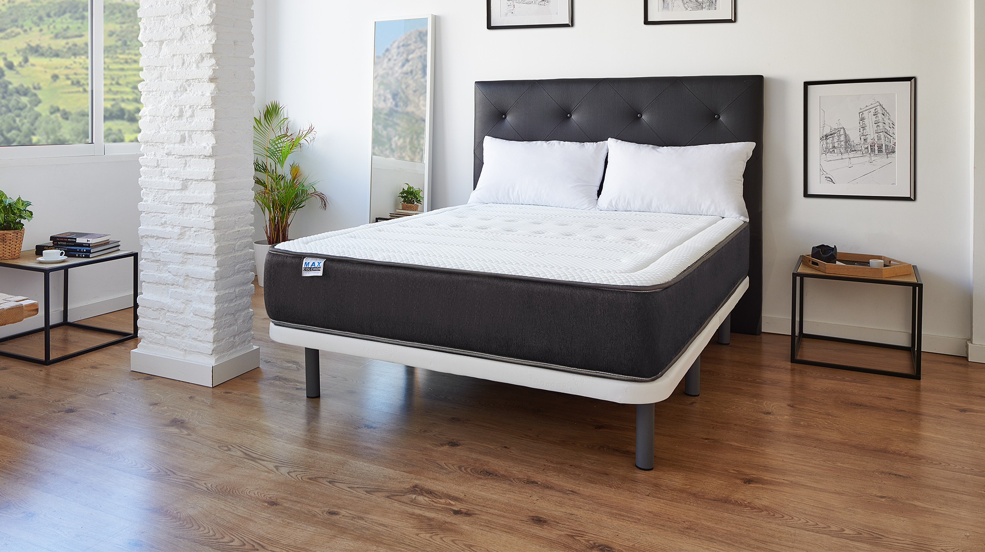 pack matelas confort visco sommier tapissier oreiller maxcolchon. Black Bedroom Furniture Sets. Home Design Ideas