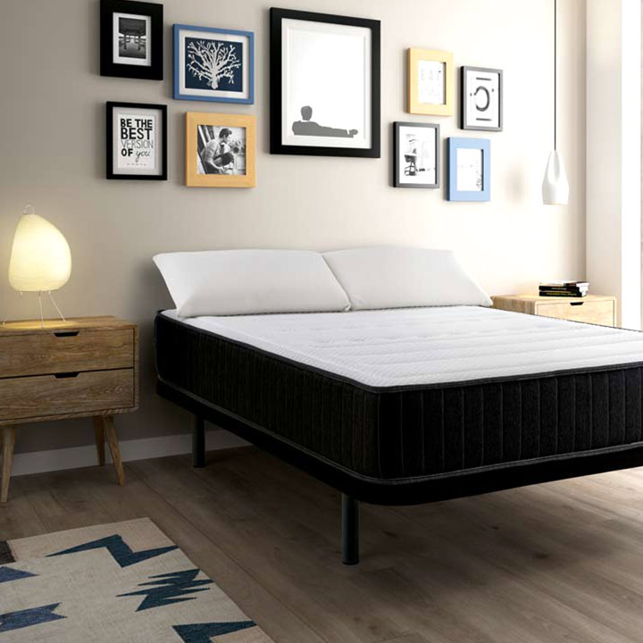 pack matelas confort visco sommier tapissier oreiller. Black Bedroom Furniture Sets. Home Design Ideas